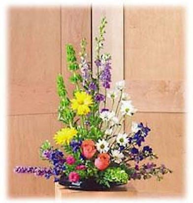 daisies roses liatris bright sympathy arrangement baton rouge la