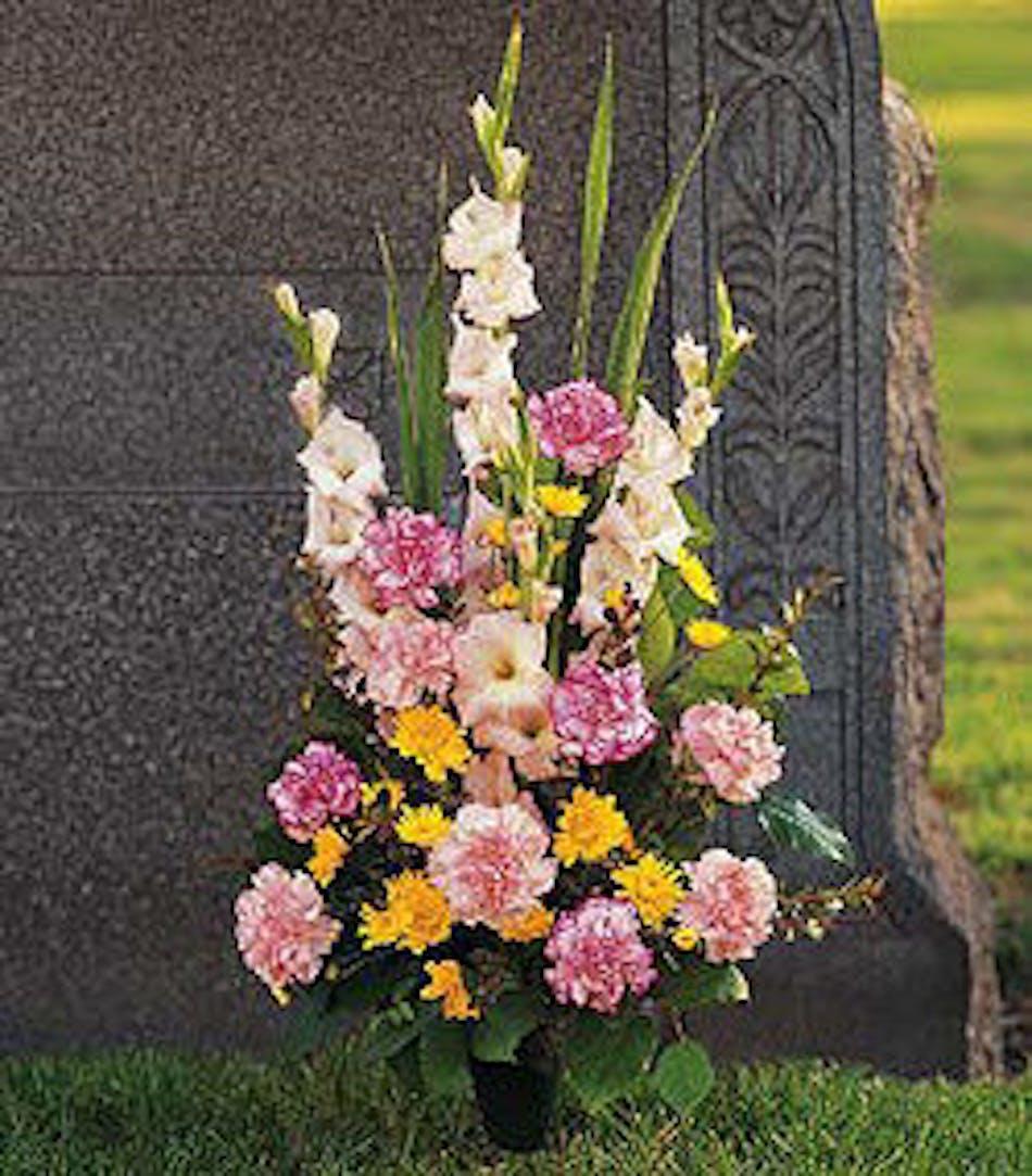 Cemetery cone arrangement delivered in baton rouge la billy heromans cemetary cone arrangement baton rouge la mightylinksfo