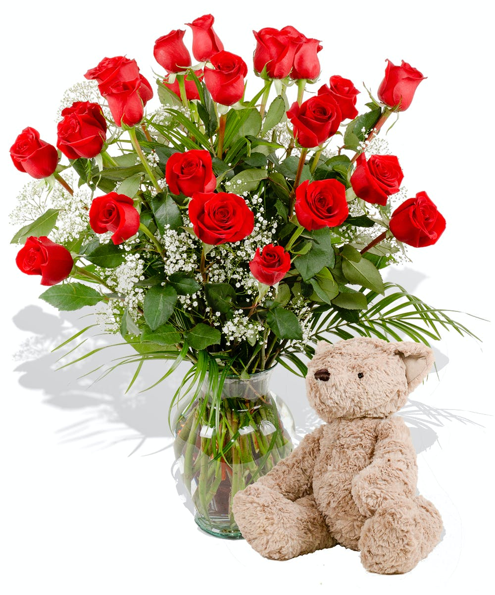 Dozen Roses With Plush Bear Delivered In Baton Rouge La