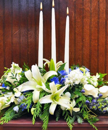 Oriental Lilies And Delphinium Holiday Centerpiece Delivered In