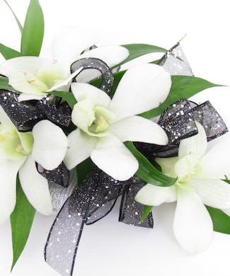 Dendrobium White Corsage With Wristlet