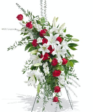 Red and White Stand Arrangement