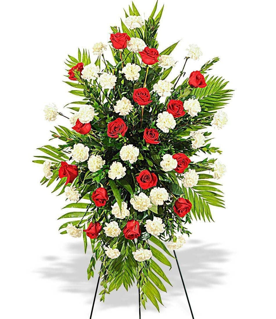 Red Roses & White Carnations Sympathy Standing Funeral Spray ...