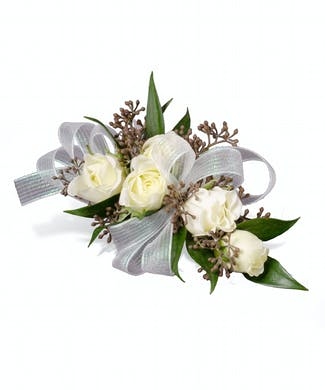 Rose Corsage with Seeded Eucalyptus - Pick A Color