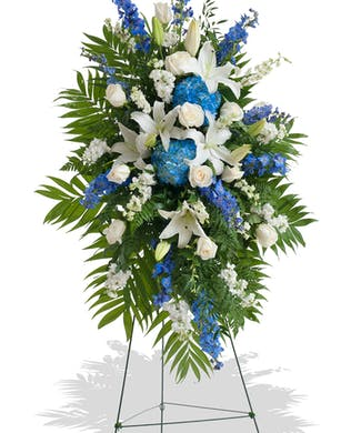 Blue and White Stand Arrangement