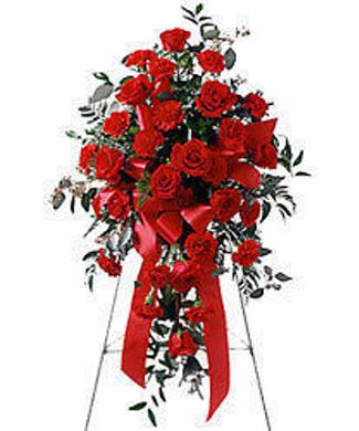 Red Rose and Carnation Standing Spray- Sweet Thoughts