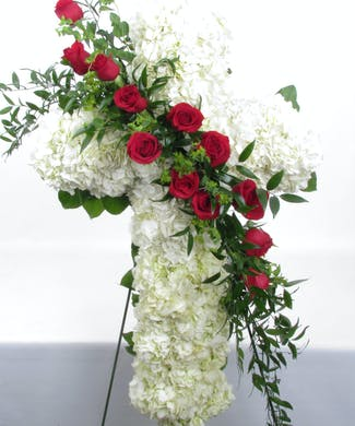 White Cross Standing Spray with Red Roses